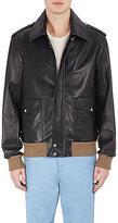 Loewe Men's Contrast-Rib-Knit Leather Jacket-BLACK
