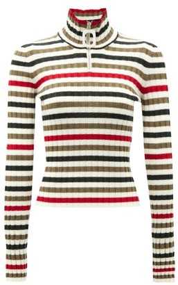 J.W.Anderson Zipped High-neck Striped Wool Sweater - Multi