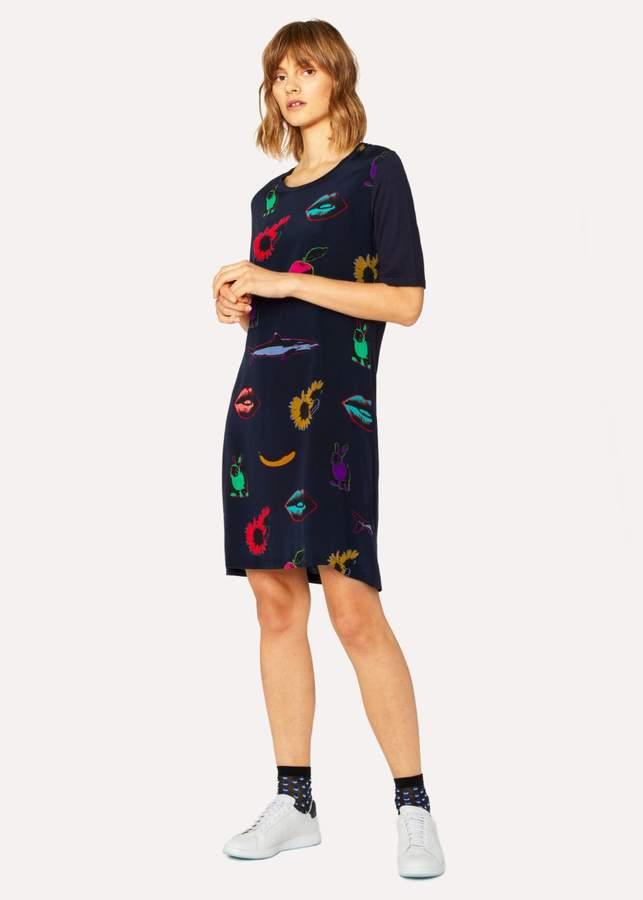 Women's Navy 'Artful Lives' Print Jersey Dress