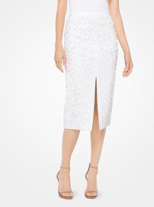 Michael Kors Floral Sequined Double Crepe-Sable Pencil Skirt