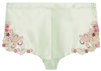 La Perla Hipster Brief In Silk With Embroidered Tulle