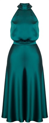 Undress Noma Green Satin Halter Neck Midi Dress With Back Ribbons