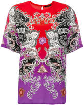 Roberto Cavalli printed colour block blouse