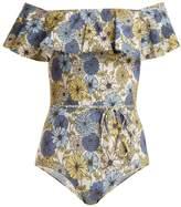 Lisa Marie Fernandez Mira floral-print off-shoulder swimsuit