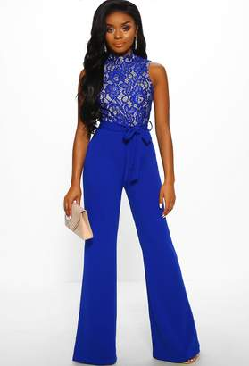Pink Boutique Bronx Beauty Cobalt Blue Lace Tie Waist Wide Leg Jumpsuit