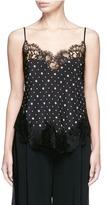 Givenchy Lace trim microprint silk crepe de Chine camisole