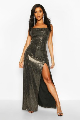boohoo Sequin Cowl Neck High Split Maxi Dress