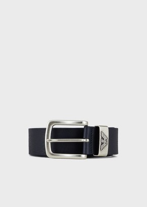 Emporio Armani Leather Belt With Logo Buckle