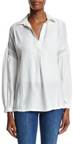 Frame Lace-Trim Long-Sleeve Top, Off White