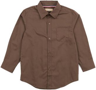 Leveret Boys' Button Down Shirts Brown - Brown Poplin Button-Up - Toddler & Boys