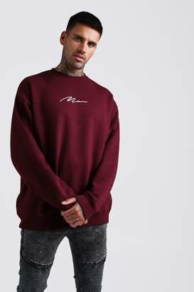 boohoo Oversized MAN Signature Fleece Sweatshirt