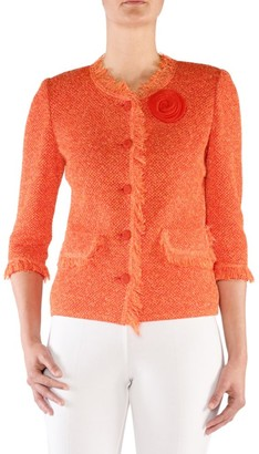 Stizzoli, Plus Size Tweed-Texture Jacket