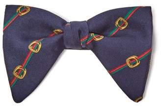 Gucci Horsebit Print Silk Twill Bow Tie - Mens - Navy