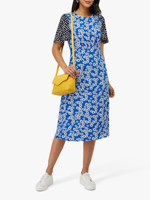 Monsoon Delta Contrast Print Midi Dress, Blue