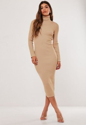 Missguided Camel Turtle Neck Ribbed Midaxi Dress