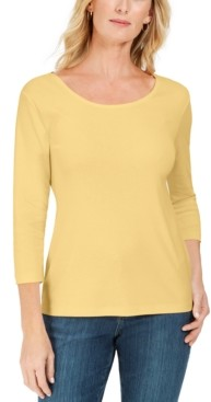 Karen Scott Petite Cotton Scoop-Neck Top, Created for Macy's