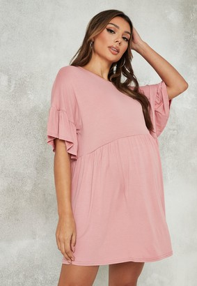 Missguided Peach Jersey Frill Sleeve Maternity Smock Dress