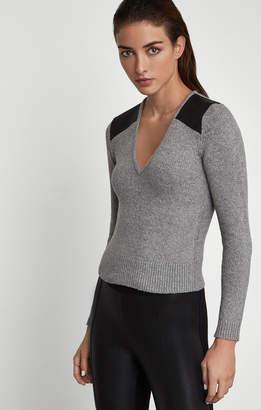 BCBGMAXAZRIA Sweater with Faux Leather Trim