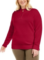 Karen Scott Plus Size Cotton 1/4-Zip Mock-Neck Sweater, Created for Macy's