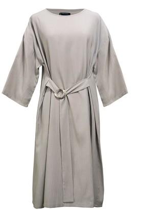 Keegan Sandstone Dress With Silver Ring Waist Tie