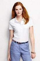 Lands' End Women's Slim Fit Pique Polo Shirt-Black