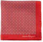 Salvatore Ferragamo Solid-Border Gancini Silk Pocket Square, Red