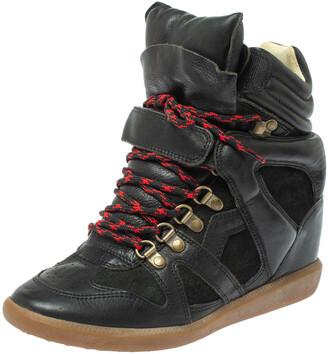 Isabel Marant Black Suede Leather Bekett Wedge High Top Sneakers Size 38