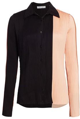 Proenza Schouler White Label Plisse Colorblock Shirt