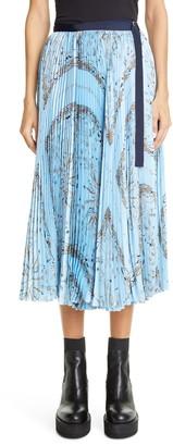 Sacai Dr. Woo Bandana Print Pleated Midi Skirt