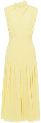 Emilia Wickstead Roseann Pleated Crepe-seersucker Midi Dress