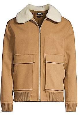 A.P.C. Men's Shearling Collar Wool-Blend Bomber Jacket