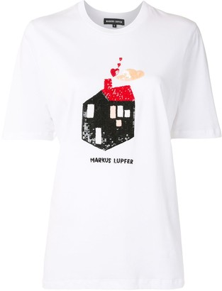 Markus Lupfer sequinned house cotton T-shirt