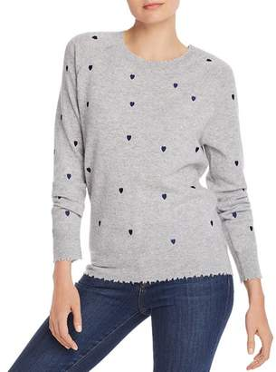 Aqua Embroidered Heart Cashmere Sweater - 100% Exclusive