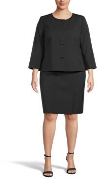 Le Suit Plus Size Skirt Suit