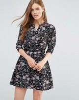 Yumi Floral Print Mini Dress With 3/4 Sleeves