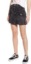 Tinsel Washed Utility Cutoff Denim Miniskirt