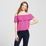 Mossimo Women's Off the Shoulder Blouse Purple