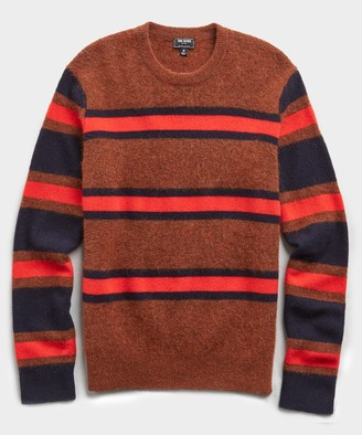 Todd Snyder Color Block Stripe Alpaca Sweater in Rust