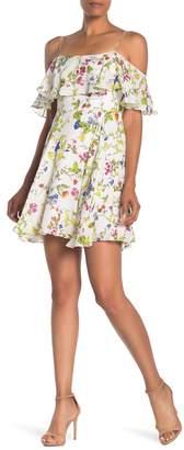Milly Floral Cold Shoulder Silk Mini Dress