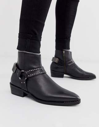Asos Design DESIGN cuban heel western chelsea boots in black leather with studding and hardware detail