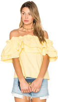 Edit Double Ruffle Off Shoulder Top in Yellow. - size S (also in XS)