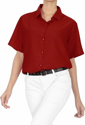 LA LEELA Everyday Essentials Rayon Women's Hawaiian Blouse Top Short Sleeve Button Down Yoga Solid Casual Work Shirt Summer Holiday Halloween M-UK Size:18-20 Blood Red_X527