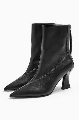 Topshop Womens Mara Leather Black Point Boots - Black