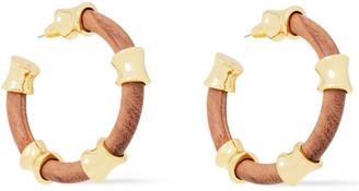 Noir 14-karat Gold-plated Wood Hoop Earrings