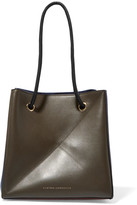 Victoria Beckham Cube Small Two-tone Leather Shoulder Bag - Navy