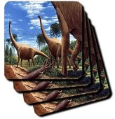 3dRose cst_1008_3 Dinosaur Brachiosaurus Ceramic Tile Coasters, Set of 4