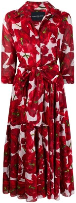 Samantha Sung Aster tulip-print shirt dress