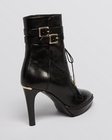 Burberry Lace Up Platform Booties - Manners High Heel