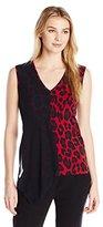 Anne Klein Women's Chiffon Overlay Leopard Print Top