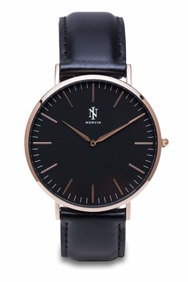 NORVIN Unisex Adult Analogue Classic Quartz Watch with Leather Strap 9912